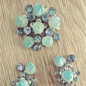 Unique Vintage Brooch Pin & Earrings Set